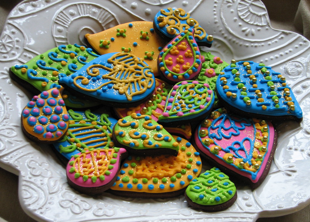 Indian pattern cookies brightly colored paisley