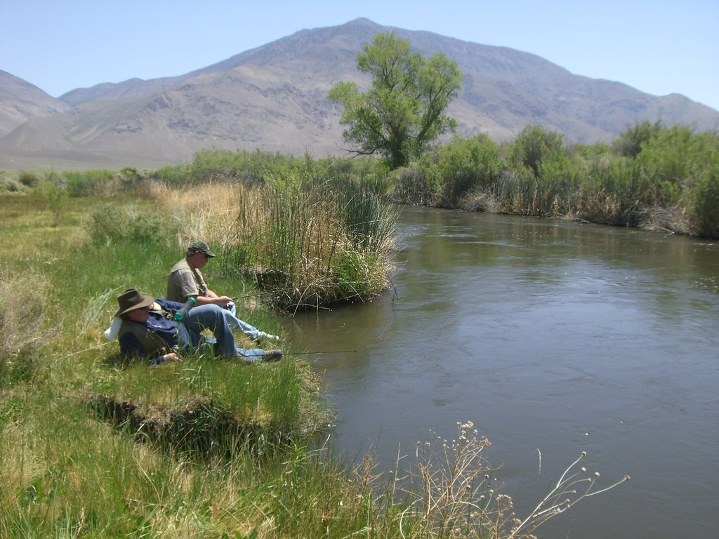Owens river bobby and david enjoying a nice fishing spot for Owens river fishing report