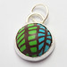 blue forest polymer clay and silver pendant