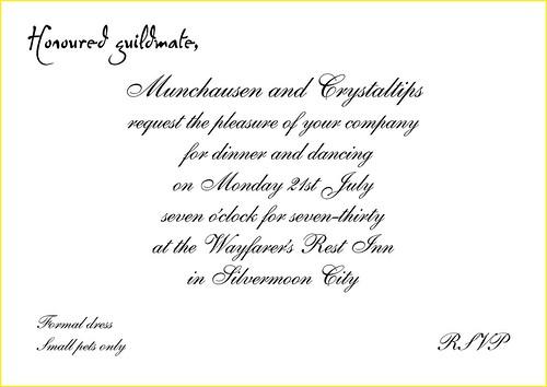 Guild Dinner Invitation An Unusual Invitation Flickr