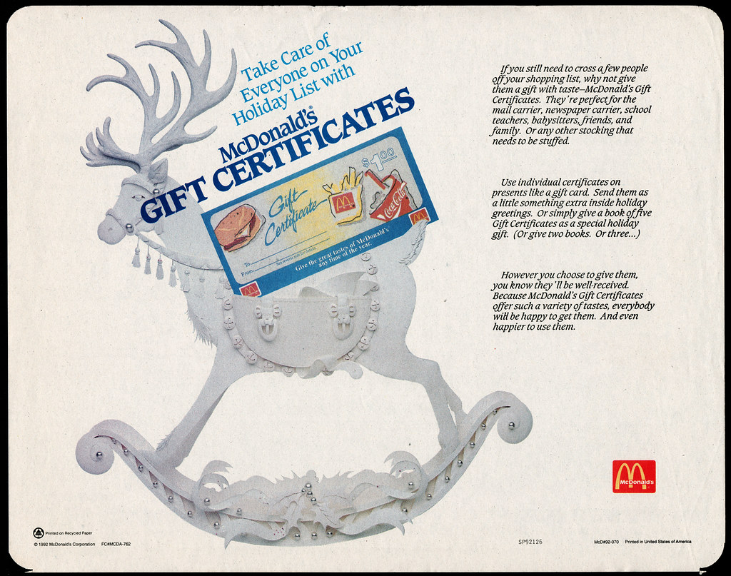 Mcdonalds trayliner placemat gift certificate reindeer h flickr 1betcityfo Image collections