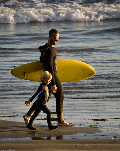 "Father and son surf lesson in Morro Bay, CA - image by Michael ""Mike"" L. Baird 