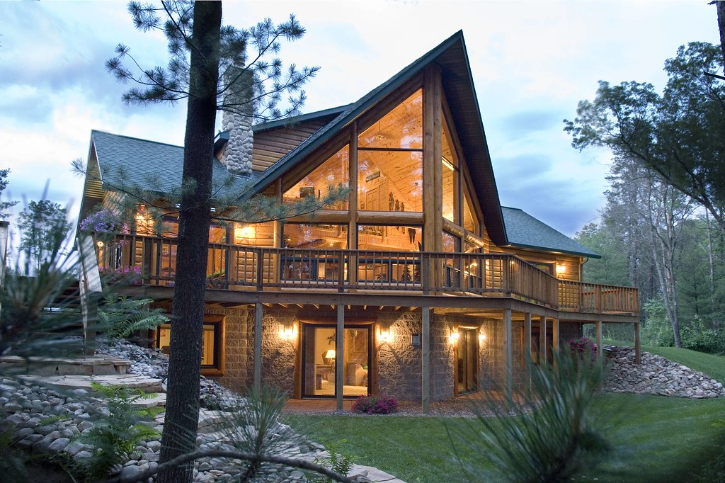 Log cabin by golden eagle log homes custom designed Stone and wood house plans