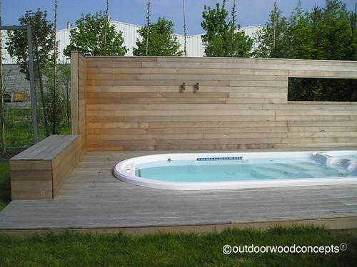 Terras met zwembad zwemmen als het lekker weer is outdoorwoodconcepts flickr - Zwembad in het terras ...