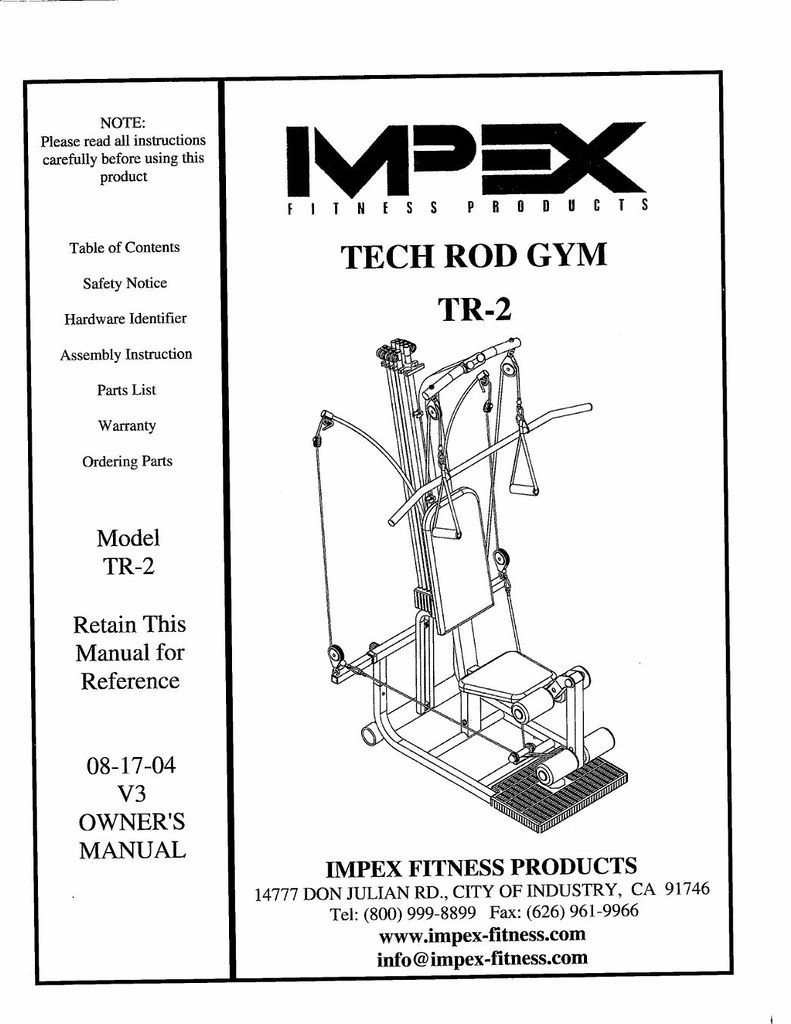 Impex tech rod gym manual brand