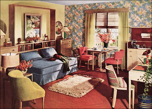 1942 One Room Apartment Armstrong Linoleum By American