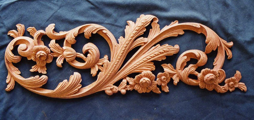Carved leaf and flowers in