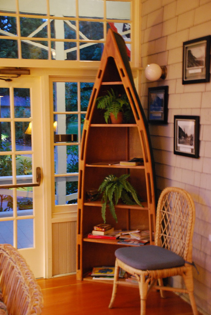 Canoe Bookshelf On The Porch At Lake Crescent Lodge