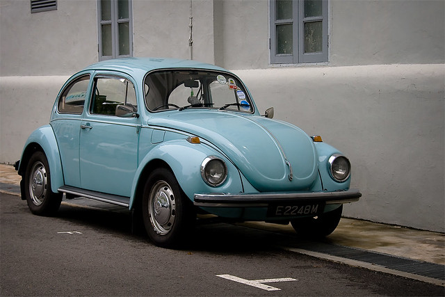 baby blue VW beetle bug I | lash tan | Flickr