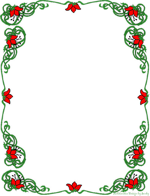 Floral Red and Green Borders Stationery | For the free print ...