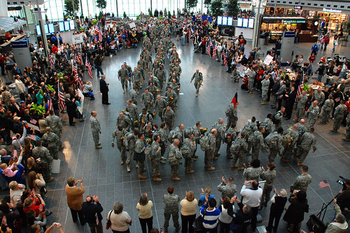 100 Indiana Guard Soldiers return to Indianapolis airport | by The U.S. Army