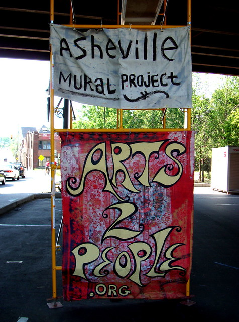 Amp signs asheville mural project in progress zen for Asheville mural project