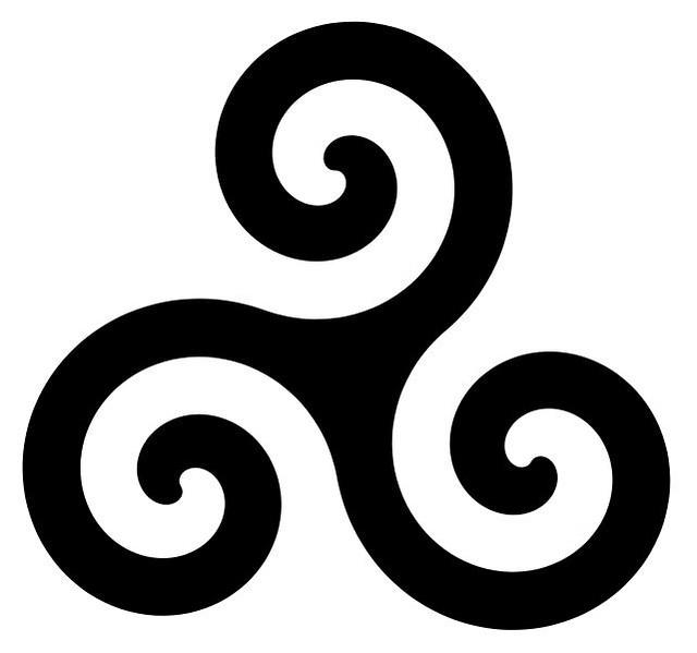 Triskle é um símbolo celta que representa as tríades da vida em ...