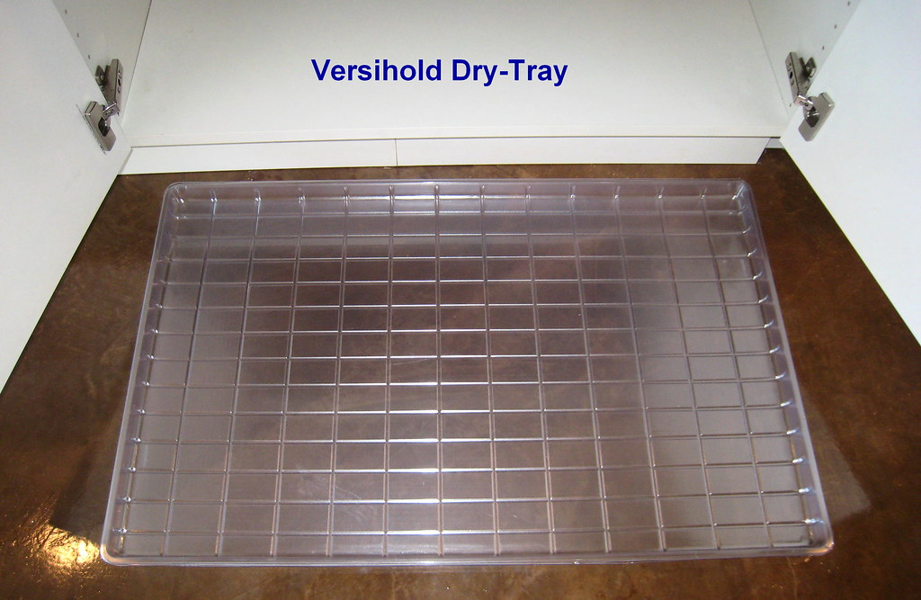 Under the sink dry tray the versihold under the sink for Under sink cabinet tray