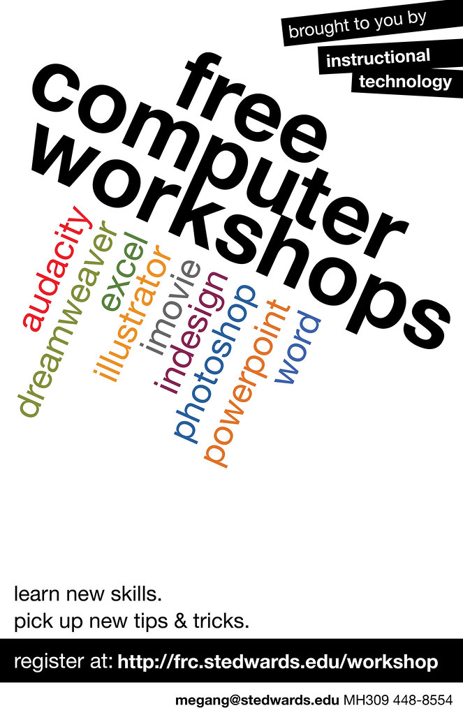 Computer Workshop Ad Poster 2   A poster to advertise SEU ...