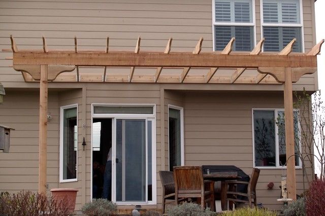 Custom pergolas these customers sought shade for their for Hot tub shelter plans