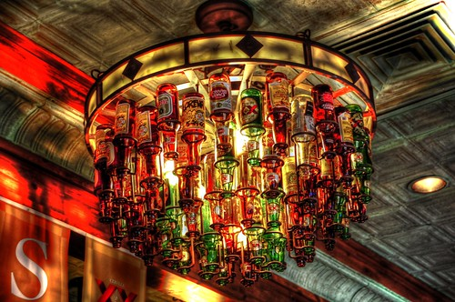 Beer Bottle Chandelier On The Boarder Mexican Grill