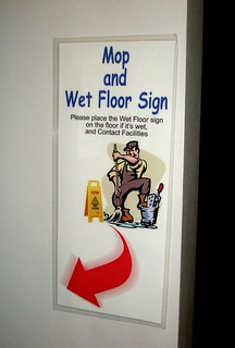 """mop and wet floor sign"" sign 