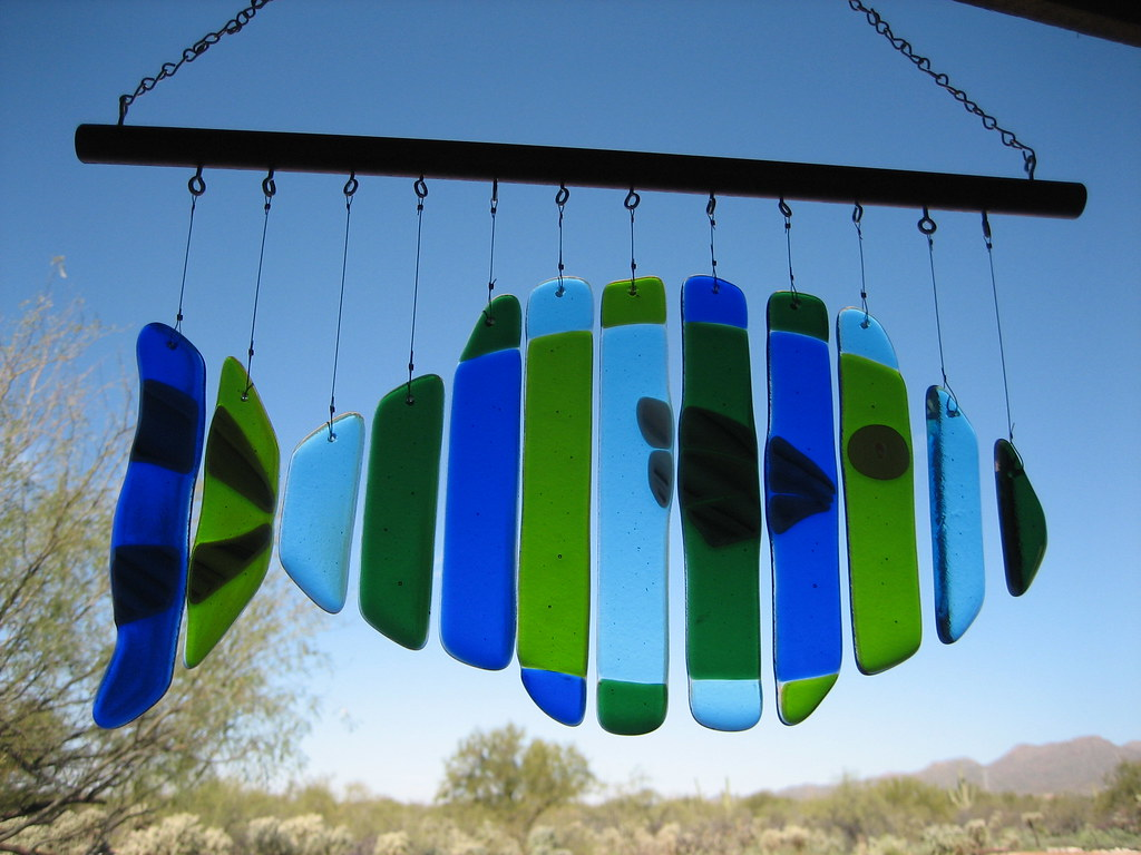 Fused glass fish windchime this windchime sounds lovely for Fish wind chimes