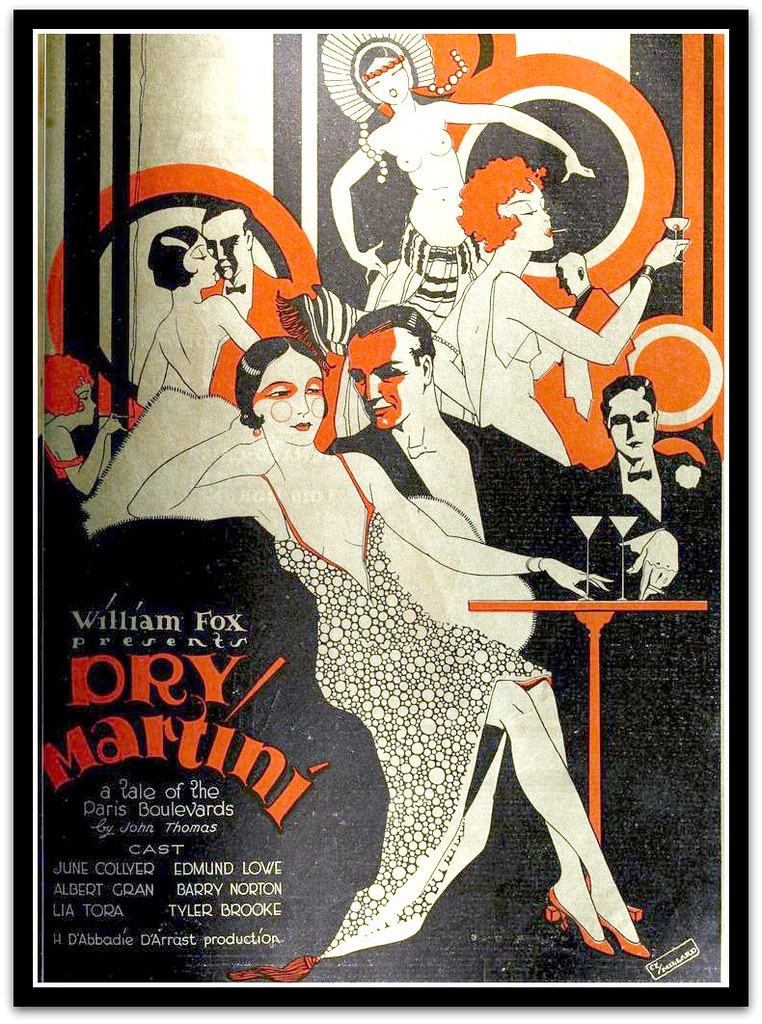 vintage art deco advert for dry martini 1928 film advert. Black Bedroom Furniture Sets. Home Design Ideas