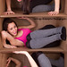 [EXPLORED] Brand new warehouse find. Brunette model in a box. The model comes in black tights, a pink tank top and grey leg warmers. Order yours today.