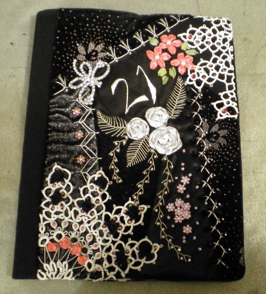 Book Covering Nz ~ Crazy quilted book cover sleeve made to a
