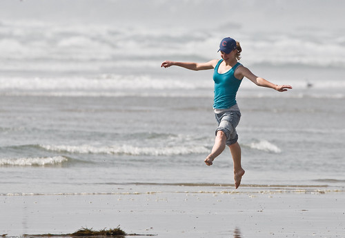 1 of 8 Girl dances at water's edge on Morro Strand State Beach | by mikebaird