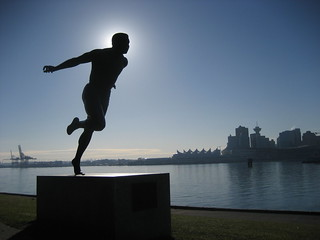 Seawall Runner and Downtown Vancouver Skyline | by keepitsurreal