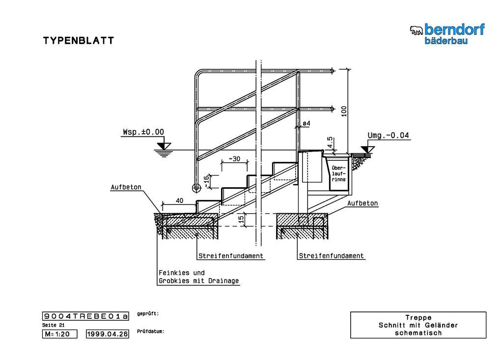treppe schnitt mit gel nder schematisch markus angerer. Black Bedroom Furniture Sets. Home Design Ideas