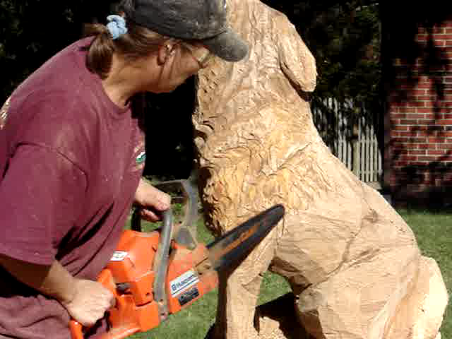 Chainsaw carving when ike moved through ohio on it s way