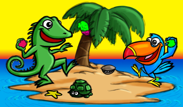 Tropical Island Cartoon: Iguana & Toucan Cartoon Characters On Tropical Island