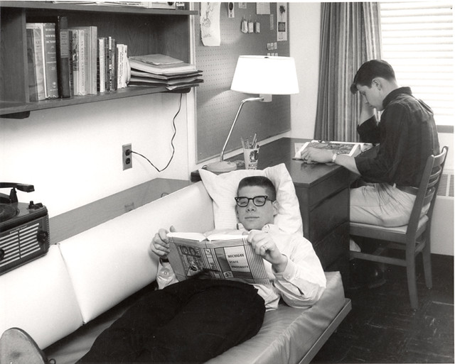 Two Students Study In A Wonders Hall Dorm Room Undated