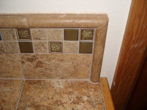 Epoxy Grout For Bathrooms: Bathroom Counter Remodel With Wood Trim And Epoxy Grout