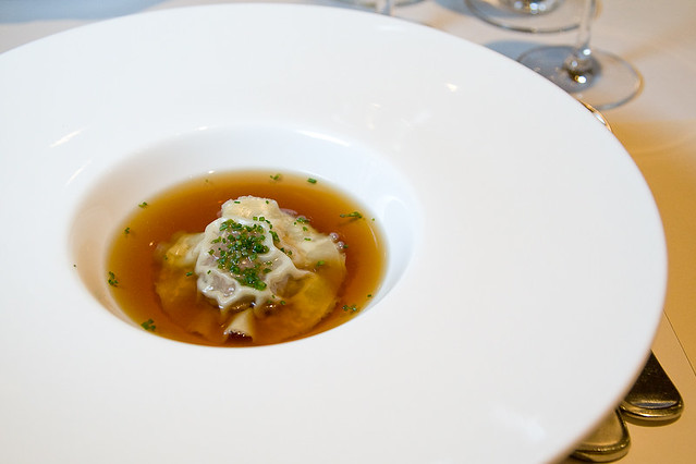 Wild Mushroom Consomme with Oxtail Ravioli | pair with Wyndh… | Flickr