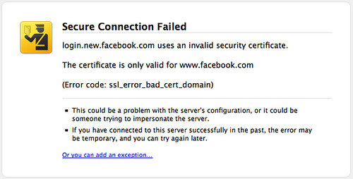 How many times have you add an exception to a Secure Connection Failed dialogue in your web browser? Image by https://www.flickr.com/photos/bpedro/ on Flickr