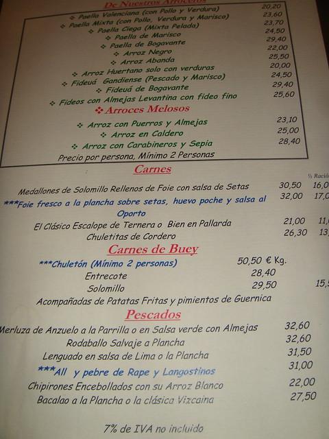 restaurante la albufera de sexta avenida madrid carta