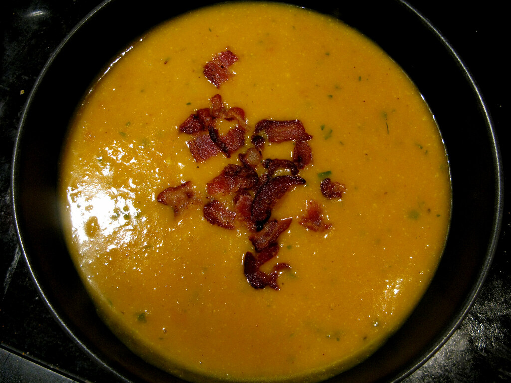 Thai-spiced Pumpkin Soup | With bacon crumbles. Mmm ...