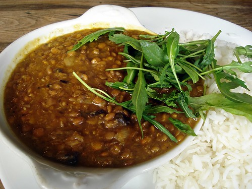 Dhal and rice (and, er, rocket) at King Eddie's, Stratford, London E15 | by Kake .