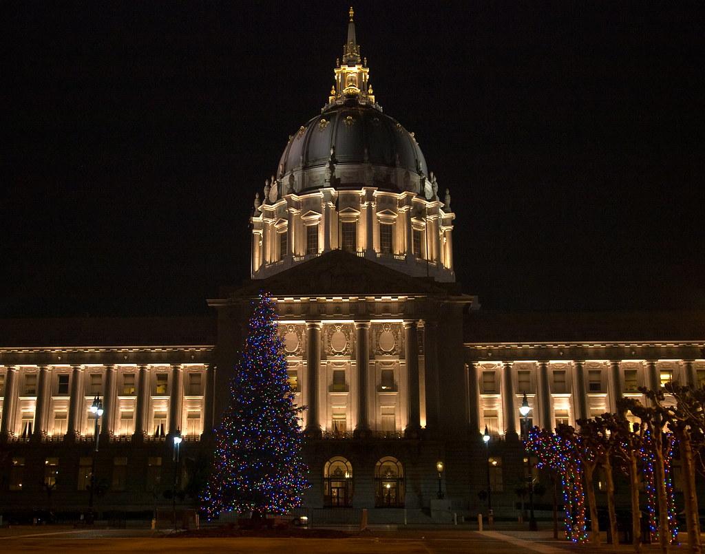 San Francisco Civic Center Plaza Tree Lighting   SF   Funcheap  San Francisco City Hall Trees