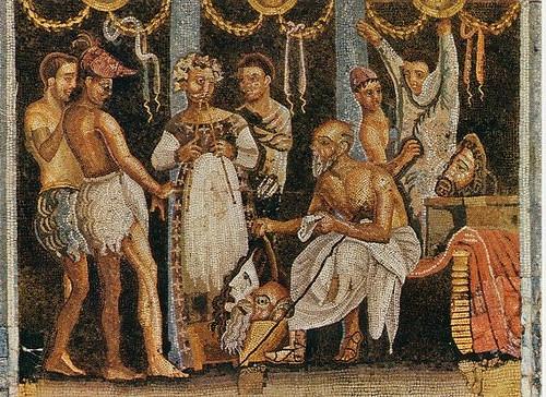 Matrimonio Romano Versione Latino : Mosaico pompeya actores encontrado en