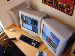two 19-inch Sony CRTs on the G4