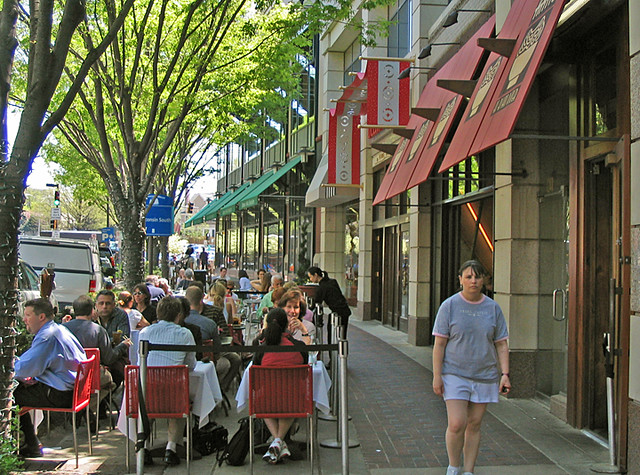 Bethesda Row Dining on Street