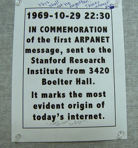 First Internet Message Arpanet UCLA | Sign outside the ...