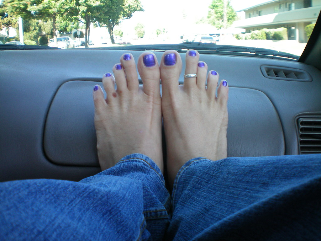 Sexy Feet  Purple Toenails And The Feet On The Dashboard -1246