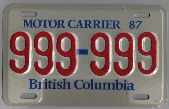 British Columbia 1987 Motor Carrier Plate 999 999 Flickr