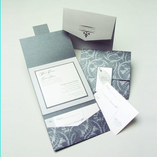 Wedding Invitation Folders With Pocket: Silver-gray-pocket-fold-wedding-invitations