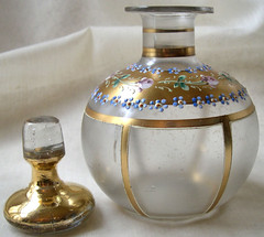 PetitPoulailler Pre-1950 Gold and Enameled Decanter, Bohemian Glass ... Moser? | by Le Petit Poulailler / Three French Hens