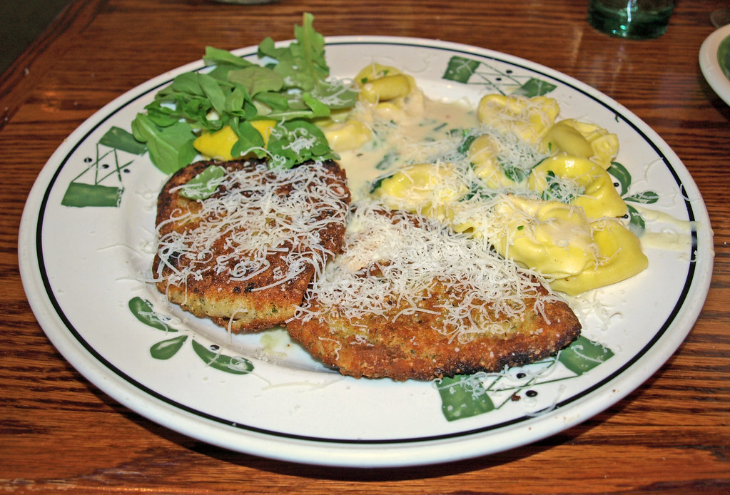 Breaded Chicken Milanese With Tortellini And Arugula In Cr Flickr