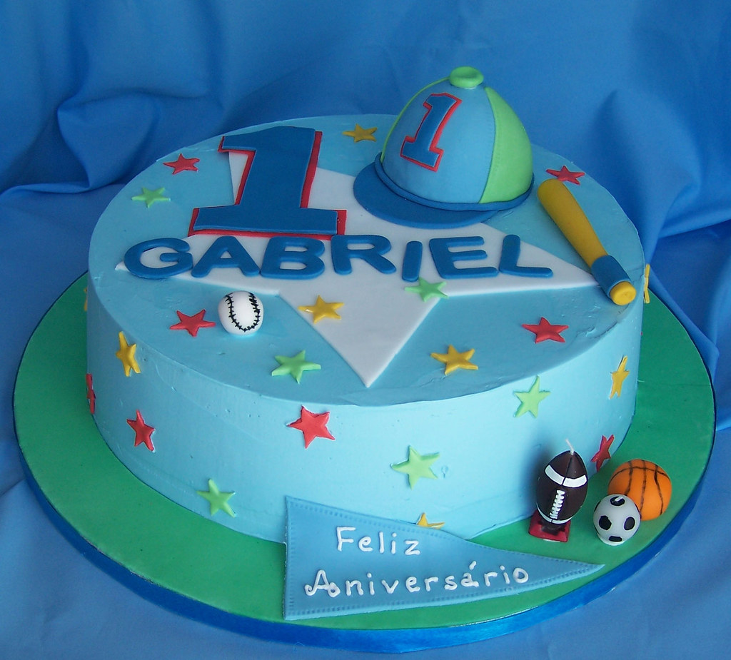 Birthday Cake Designs For Boy With Name : First birthday cake for a boy. Buttercream covered cake ...