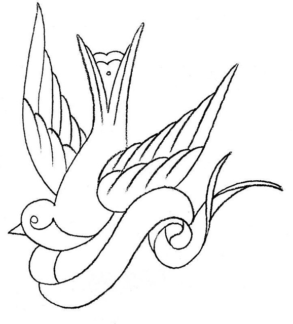 Swallow Tattoo Line Drawing : Dawn s sparrow tattoo firebellydesign flickr